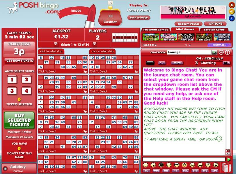 Posh Bingo – Deposit £10 and play with £50 lobby