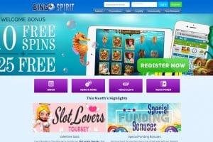Play Online Bingo Games at Bingo Spirit at get $25 No Deposit