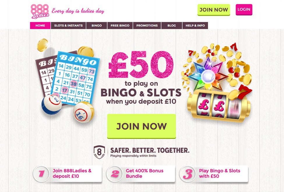 888 Ladies Bingo - Deposit £10 and Play Bingo & Slots with £50!