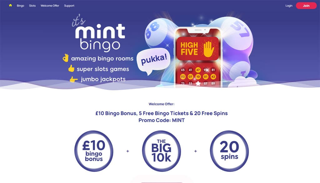 Mint Bingo - 5 Free Bingo Tickets, 20 Free Spins & £10 Bingo Bonus