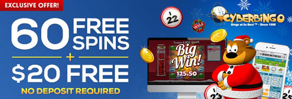 60 Free Spins for the Sugar & ICE Xmas game and $20 Free Bingo Bonus