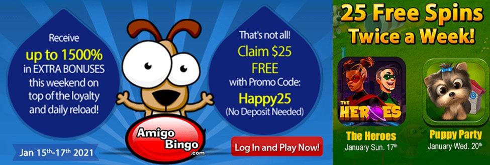 Saturday at AmigoBingo - get additional bonuses