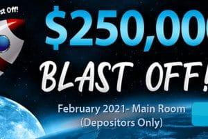 $250,000 Blast Off! – February 2021 Main Room at Amigo Bingo