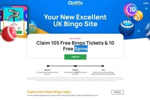 Quality Bingo – new bingo site – get 105 free tickets to get you started