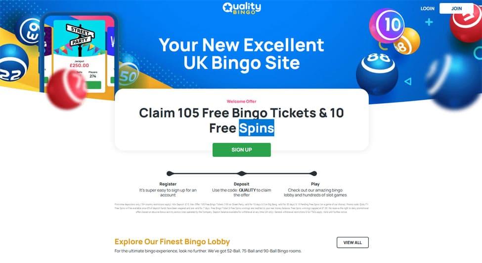 Quality Bingo - Claim 105 Free Bingo Tickets & 10 Free Spins